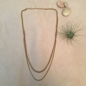 """Thick """"Double"""" Gold Tone Chain Necklace"""